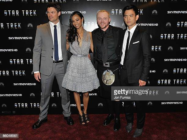 Actors Karl Urban Zoe Saldana Simon Pegg and John Cho attend the 'Star Trek' film premiere at the Empire Leicester Square on April 20 2009 in London...