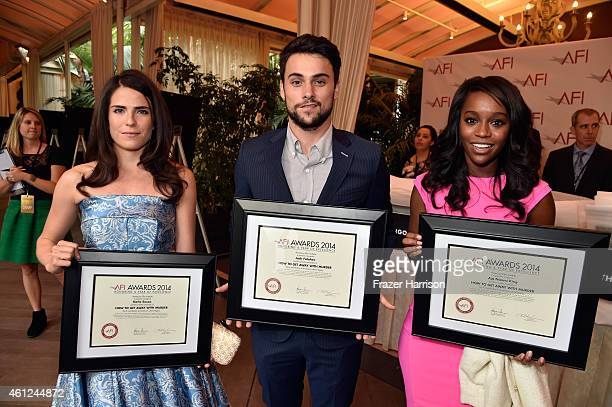 Actors Karla Souza Jack Falahee and Aja Naomi King pose with awards during the 15th Annual AFI Awards at Four Seasons Hotel Los Angeles at Beverly...