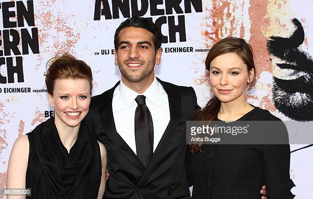 Actors Karoline Schuch Elyas M'Barek and Mina Tander attend the 'Zeiten Aendern Dich' German Premiere on February 3 2010 in Berlin Germany
