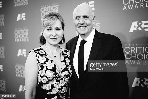 Actors Kasia Ostlun and Jeffrey Tambor attend the 21st annual Critics' Choice Awards at Barker Hangar on on January 17, 2016 in Santa Monica,...