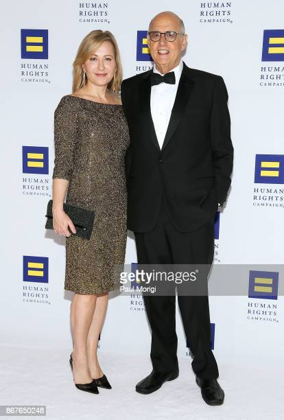 Actors Kasia Ostlun and Jeffrey Tambor attend the 21st Annual HRC National Dinner at the Washington Convention Center on October 28 2017 in...
