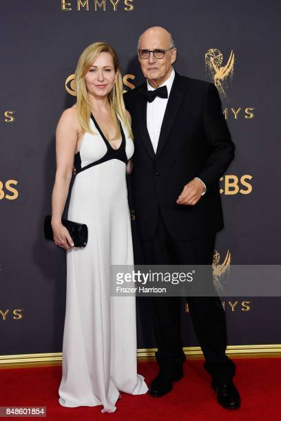Actors Kasia Ostlun and Jeffrey Tambor attend the 69th Annual Primetime Emmy Awards at Microsoft Theater on September 17 2017 in Los Angeles...