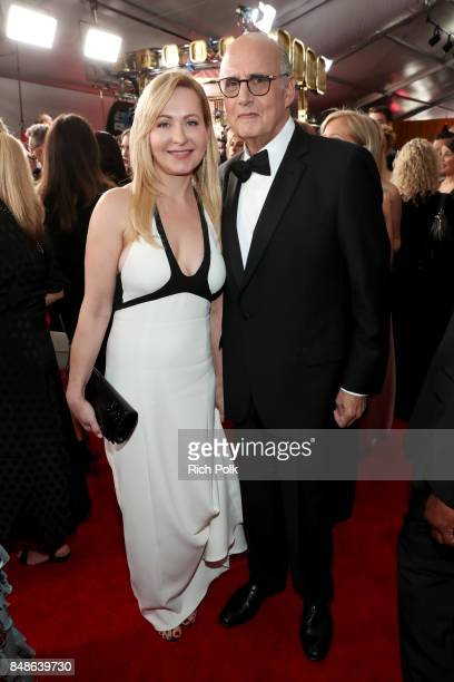 Actors Kasia Ostlun and Jeffrey Tambor walk the red carpet during the 69th Annual Primetime Emmy Awards at Microsoft Theater on September 17 2017 in...
