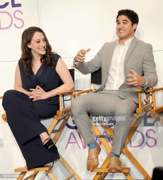 Actors Kat Dennings and Darren Criss attend the 2014 People's Choice Awards Nominations announcement at The Paley Center for Media on November 5 2013...