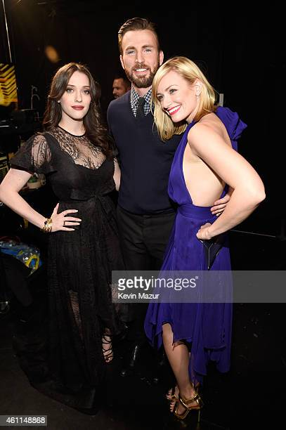 Actors Kat Dennings Chris Evans and Beth Behrs attend The 41st Annual People's Choice Awards at Nokia Theatre LA Live on January 7 2015 in Los...