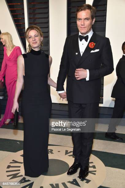 Actors Kate Arrington and Michael Shannon attend the 2017 Vanity Fair Oscar Party hosted by Graydon Carter at Wallis Annenberg Center for the...