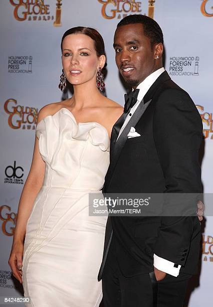 Actors Kate Beckinsale and Sean Combs presenters pose in the press room at the 66th Annual Golden Globe Awards held at the Beverly Hilton Hotel on...