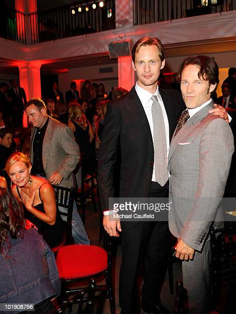 Actors Kate Bosworth Alexander Skarsgard and Stephen Moyer attend HBO's True Blood Season 3 premiere after party held at Boulevard3 on June 8 2010 in...