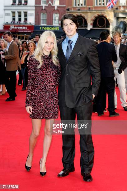 Actors Kate Bosworth and Brandon Routh arrive at the UK premiere of Superman Returns held at the Odeon Leicester Square on July 13 2006 in London...