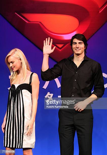 Actors Kate Bosworth and Brandon Routh pose during a news conference for their film Superman Returnsat a Tokyo hotel on August 1 2006 in Tokyo Japan...