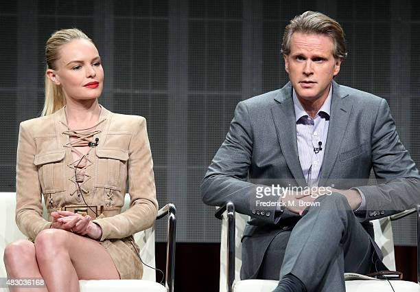 Actors Kate Bosworth and Cary Elwes speak onstage during 'The Art of More' panel discussion at the Crackle portion of the 2015 Summer TCA Tour at The...