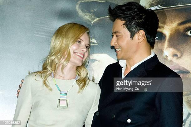 """Actors Kate Bosworth and Jang Dong-Gun poses for media during after """"The Warrior's Way"""" press screening at COEX Mega Box on November 22, 2010 in..."""