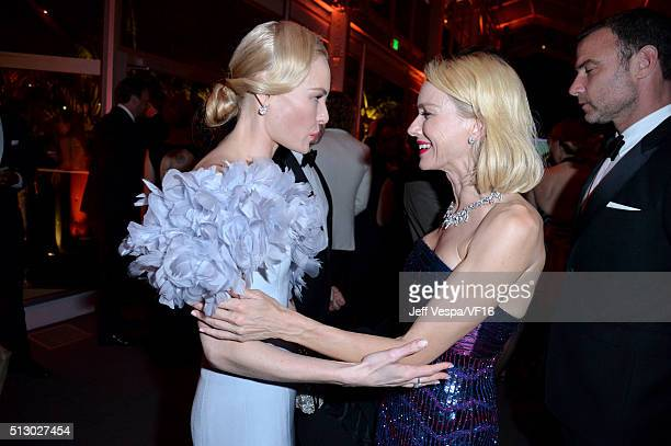 Actors Kate Bosworth and Naomi Watts attend the 2016 Vanity Fair Oscar Party Hosted By Graydon Carter at the Wallis Annenberg Center for the...