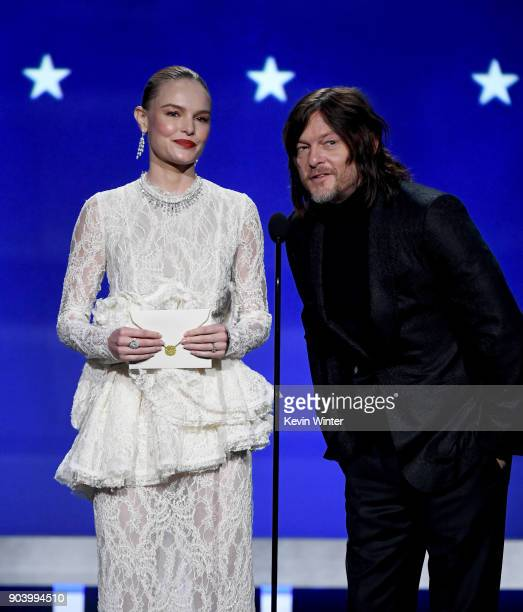 Actors Kate Bosworth and Norman Reedus speak onstage during The 23rd Annual Critics' Choice Awards at Barker Hangar on January 11 2018 in Santa...
