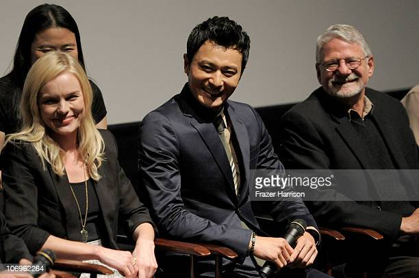 """Actors Kate Bosworth, Jang Dong-gun and Producer Barrie M. Osborne speak at """"The Warrior's Way"""" junket panel held at the Landmark Theatre on November..."""