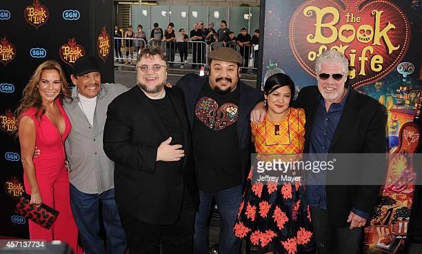 Actors Kate del Castillo Danny Trejo Executive producer Guillermo del Toro Director Jorge R Gutierrez wife Sandra Equihua and actor Ron Perlman...