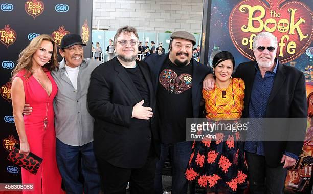 Actors Kate del Castillo Danny Trejo producer Guillermo del Toro director Jorge Gutierrez wife Sandra Equihua and actor Ron Perlman arrive at the Los...
