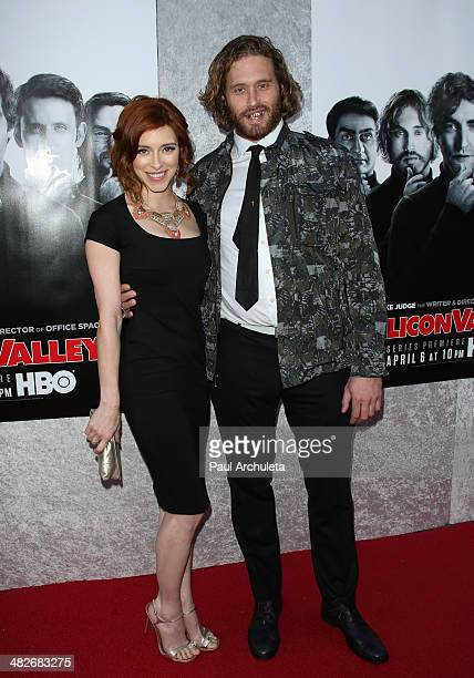 Actors Kate Gorney and TJ Miller attends the premiere of HBO's 'Silicon Valley' at Paramount Studios on April 3 2014 in Hollywood California