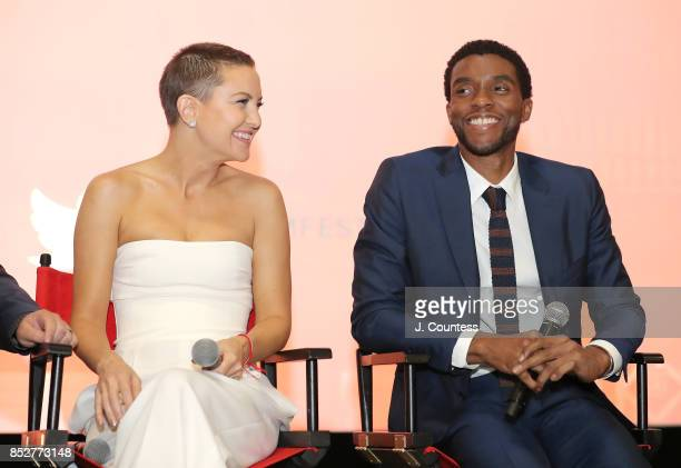 Actors Kate Hudson and Chadwick Boseman onstage at the Q A for 'Marshall' during the 21st Annual Urbanworld Film Festival at AMC Empire 25 theater on...