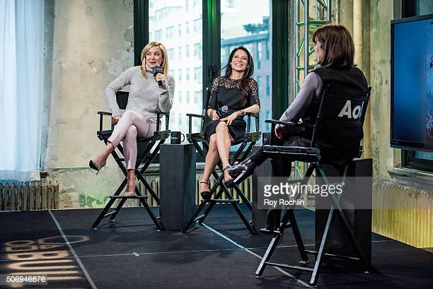 Actors Kate Hudson and Lucy Liu speak to moderator Donna Freydkin about Kung Fu Panda during an AOL Build Speaker Series at AOL Studios In New York...
