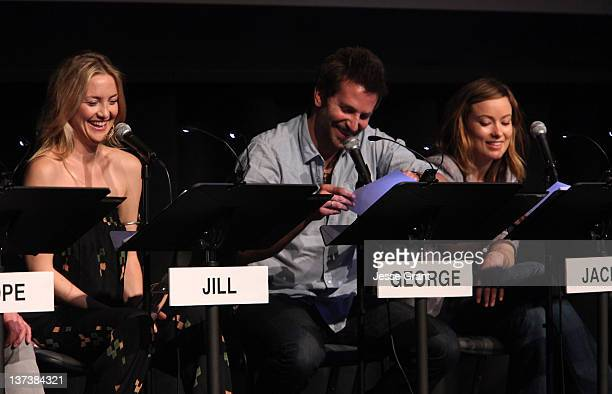 Actors Kate Hudson Bradley Cooper and Olivia Wilde attend the Film Independent at LACMA Live Read of 'Shampoo' at Bing Theatre At LACMA on January 19...