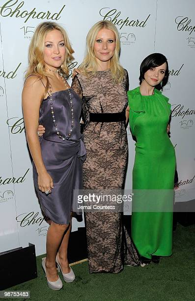 Actors Kate Hudson, Gwyneth Paltrow and Christina Ricci pose for a photo at the star studded gala celebrating Chopard's 150 years of excellence at...