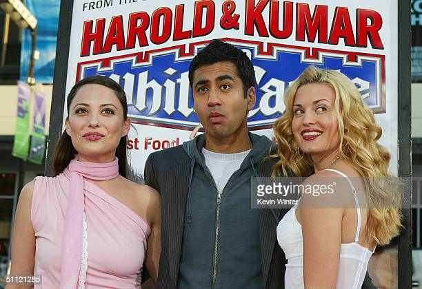 Actors Kate Kelton Kal Penn and Brooke D'Orsay arrive at the World Premiere of Harold Kumar Go to White Castle at the Grauman's Chinese Theatre on...