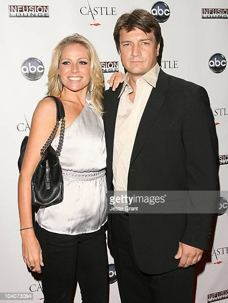 Actors Kate Luyben and Nathan Fillion arrive at ABC's Castle Season 3 Premiere Party on September 13 2010 in Los Angeles California