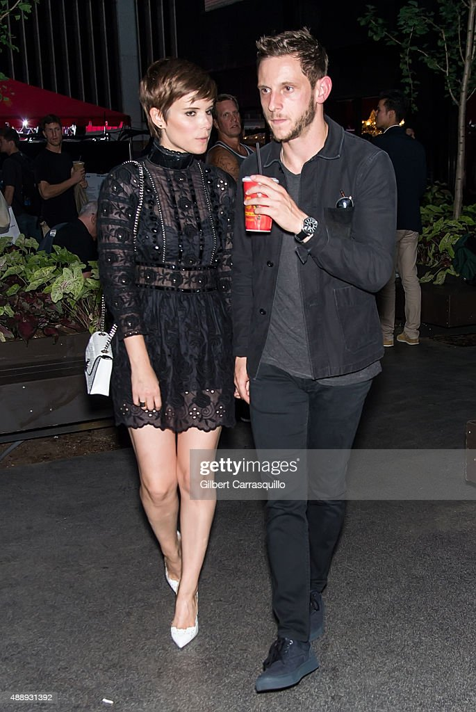 Actors Kate Mara and Jamie Bell are seen leaving the Marc Jacobs during Spring 2016 New York Fashion Week on September 17, 2015 in New York City.