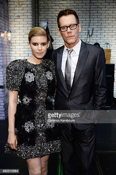 Actors Kate Mara and Kevin Bacon pose backstage at the 68th Annual Tony Awards at Radio City Music Hall on June 8 2014 in New York City