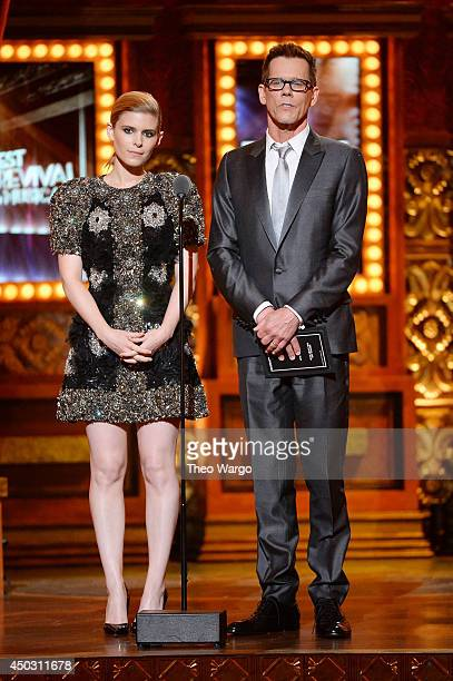 Actors Kate Mara and Kevin Bacon speak onstage during the 68th Annual Tony Awards at Radio City Music Hall on June 8 2014 in New York City