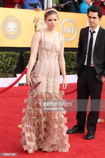 Actors Kate Mara and Max Minghella arrive at the TNT/TBS broadcast of the 17th Annual Screen Actors Guild Awards held at The Shrine Auditorium on...