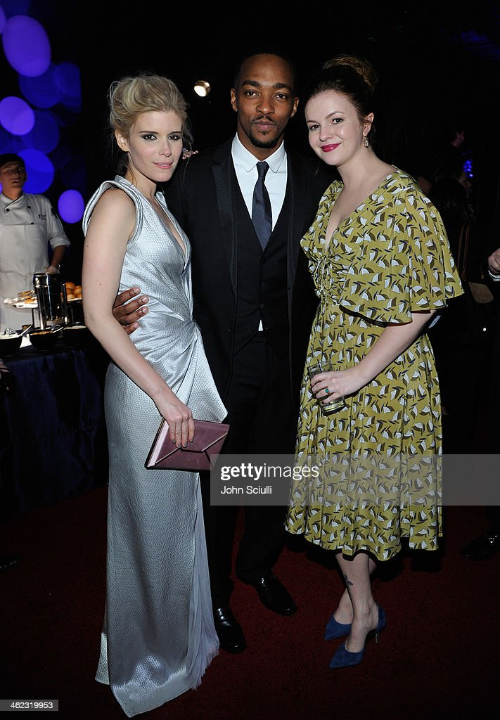 Actors Kate Mara, Anthony Mackie and Amber Tamblyn attend the 2014 InStyle And Warner Bros. 71st Annual Golden Globe Awards Post-Party at The Beverly Hilton Hotel on January 12, 2014 in Beverly Hills, California.
