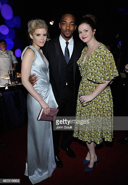Actors Kate Mara, Anthony Mackie and Amber Tamblyn attend the 2014 InStyle And Warner Bros. 71st Annual Golden Globe Awards Post-Party at The Beverly...