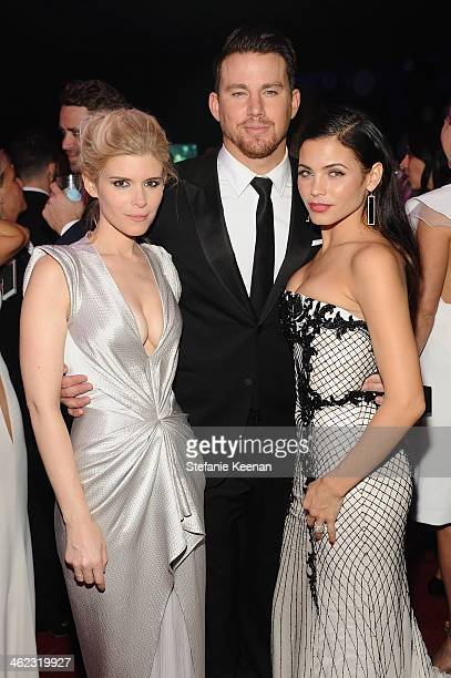 Actors Kate Mara, Channing Tatum, and Jenna Dewan-Tatum attend the 2014 InStyle And Warner Bros. 71st Annual Golden Globe Awards Post-Party at The...