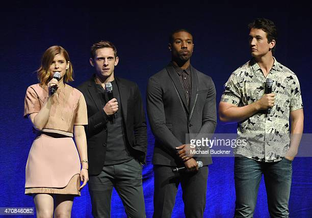 Actors Kate Mara Jamie Bell Michael B Jordan and Miles Teller speak onstage during 20th Century Fox Invites You to a Special Presentation...