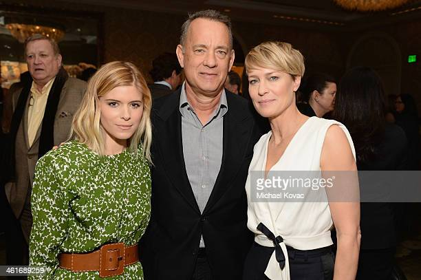 Actors Kate Mara Tom Hanks and Robin Wright attend the 14th annual AFI Awards Luncheon at the Four Seasons Hotel Beverly Hills on January 10 2014 in...
