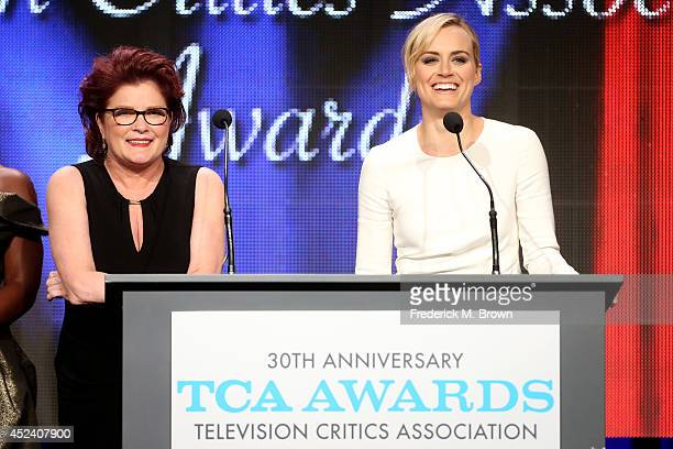 Actors Kate Mulgrew and Taylor Schilling accept the award for 'Outstanding New Program' for 'Orange Is The New Black' onstage during the 30th Annual...