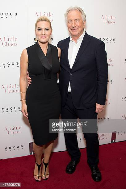 Actors Kate Winslet and Alan Rickman attend the 'A Little Chaos' New York premiere at Museum of Modern Art on June 17 2015 in New York City
