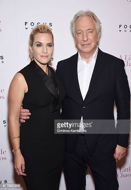 """Actors Kate Winslet and Alan Rickman attend the New York Premiere of """"A Little Chaos"""" at Museum of Modern Art on June 17, 2015 in New York City."""