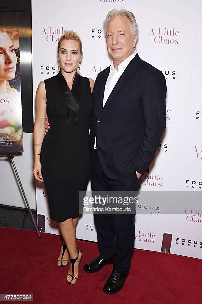 Actors Kate Winslet and Alan Rickman attend the New York Premiere of A Little Chaos at Museum of Modern Art on June 17 2015 in New York City