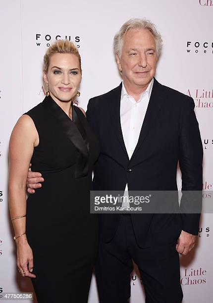 Actors Kate Winslet and Alan Rickman attend the New York Premiere of 'A Little Chaos' at Museum of Modern Art on June 17 2015 in New York City