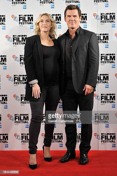 Actors Kate Winslet and Josh Brolin attend the photocall for 'Labor Day' during the 57th BFI London Film Festival at The Mayfair Hotel on October 14...