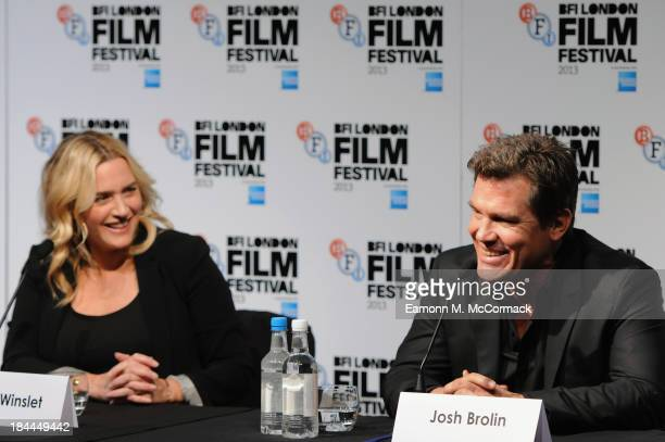 Actors Kate Winslet and Josh Brolin attend the press conference for 'Labor Day' during the 57th BFI London Film Festival at The Mayfair Hotel on...