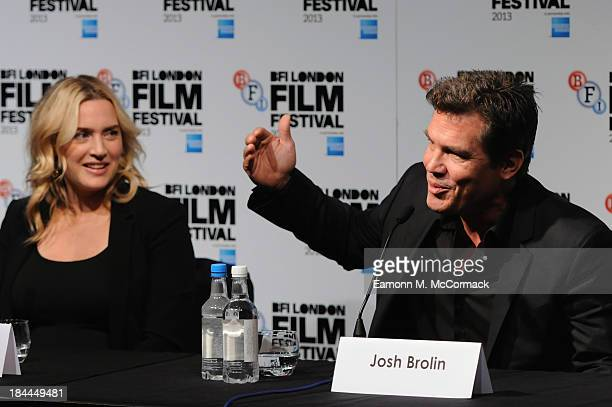Actors Kate Winslet and Josh Brolin attend the press conference for Labor Day during the 57th BFI London Film Festival at The Mayfair Hotel on...