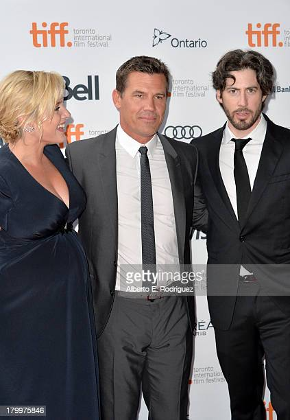 Actors Kate Winslet and Josh Brolin with director Jason Reitman at the Labor Day premiere during the 2013 Toronto International Film Festival at...