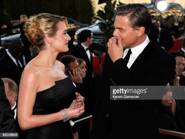 Actors Kate Winslet and Leonardo DiCaprio arrive at the 66th Annual Golden Globe Awards held at the Beverly Hilton Hotel on January 11 2009 in...