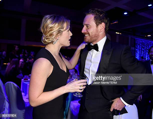 Actors Kate Winslet and Michael Fassbender attend the 27th Annual Palm Springs International Film Festival Awards Gala at Palm Springs Convention...