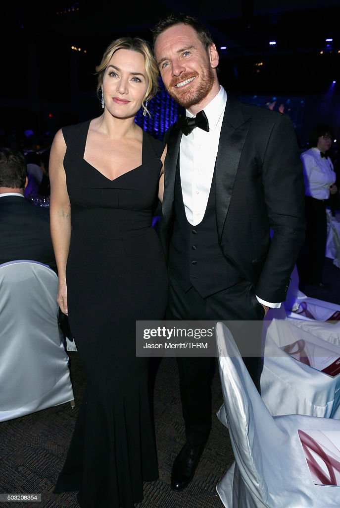 Actors Kate Winslet (L) and Michael Fassbender attend the 27th Annual Palm Springs International Film Festival Awards Gala at Palm Springs Convention Center on January 2, 2016 in Palm Springs, California.