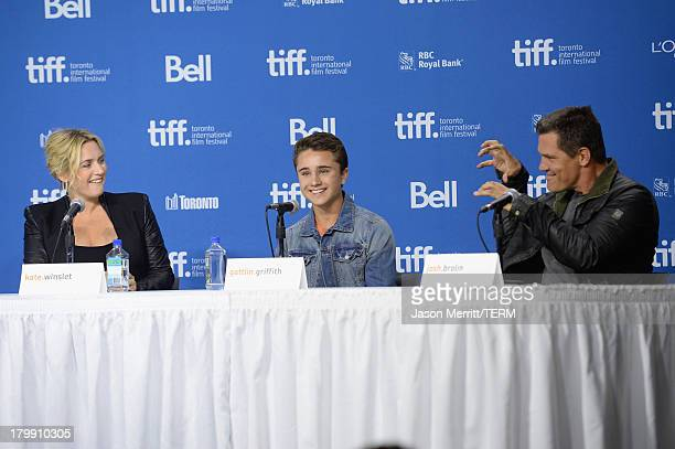 Actors Kate Winslet Gattlin Griffith and Josh Brolin speak onstage at 'Labor Day' Press Conference during the 2013 Toronto International Film...